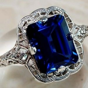 Jewelry - GLAMOROUS 2 CT SAPPHIRE & .925 STER. SILVER RING